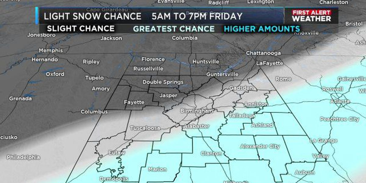 FIRST ALERT: See expected snow totals in Friday's Winter Weather Advisory