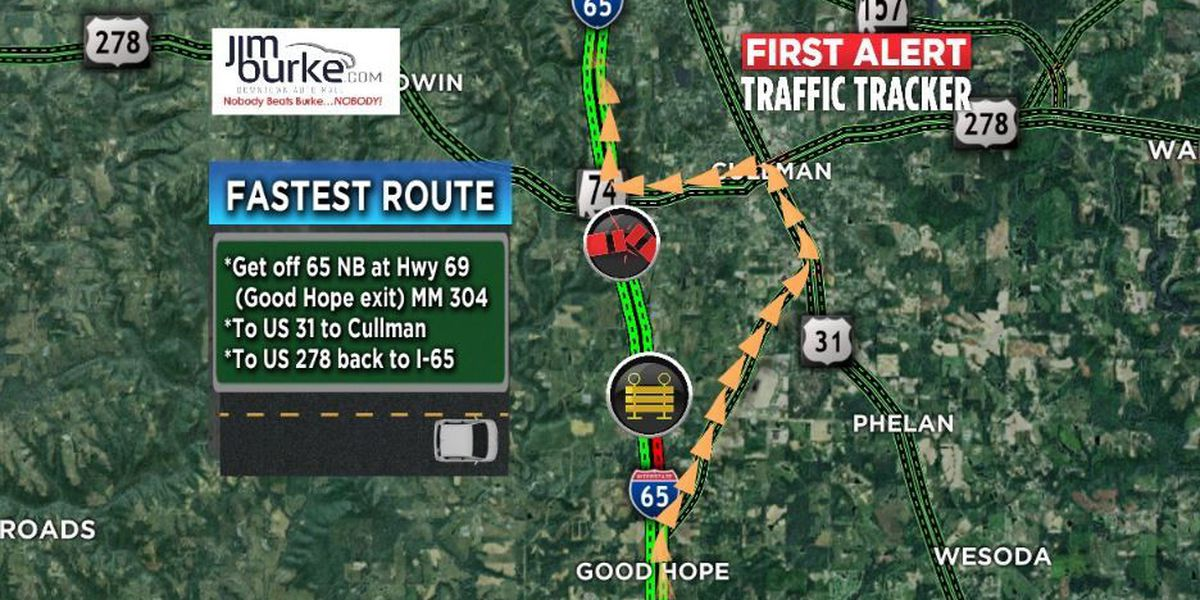 Overturned 18-wheeler causes major traffic back-up on I-65 NB in Cullman Co.