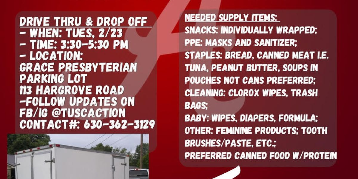 Tuscaloosa for Texas: Group gathering supplies Tuesday before traveling to Texas