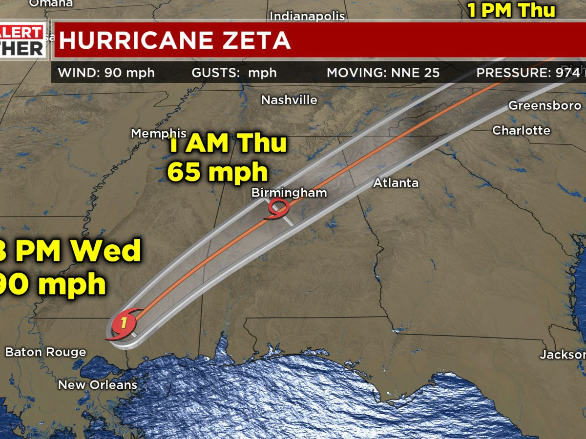 FIRST ALERT WEATHER DAY: Zeta remains a hurricane, high wind impacts expected in our area by midnight