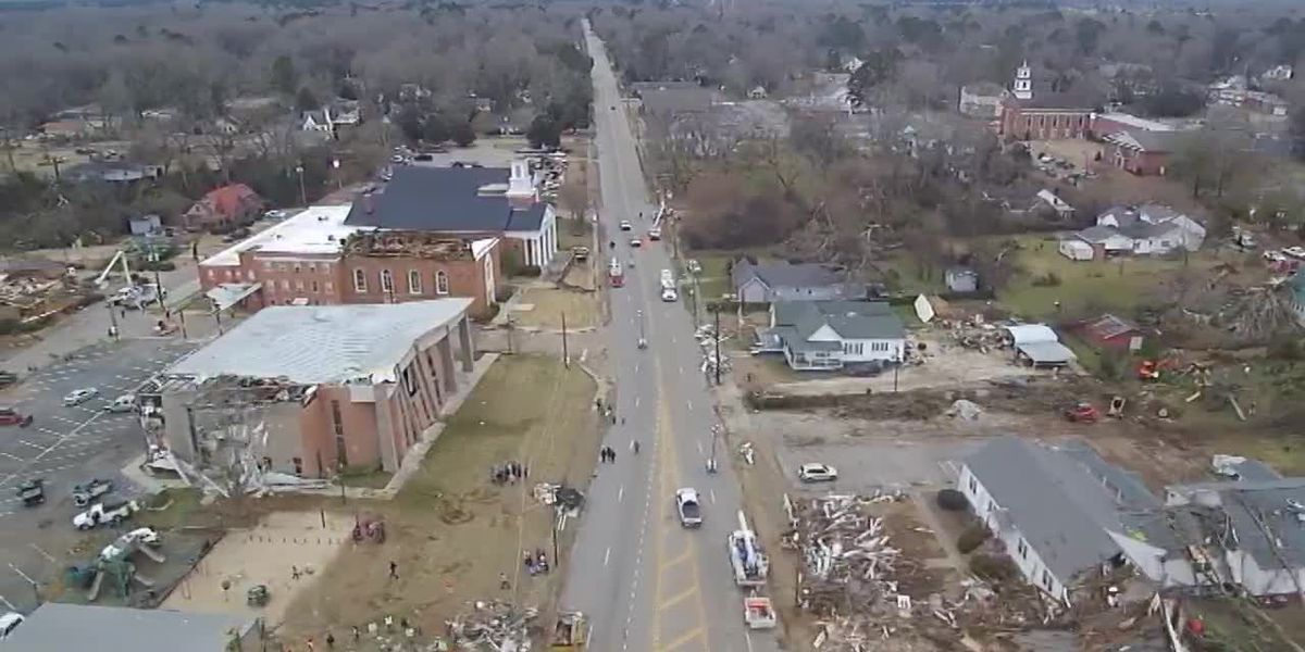 Drone footage of tornado damage in Wetumpka