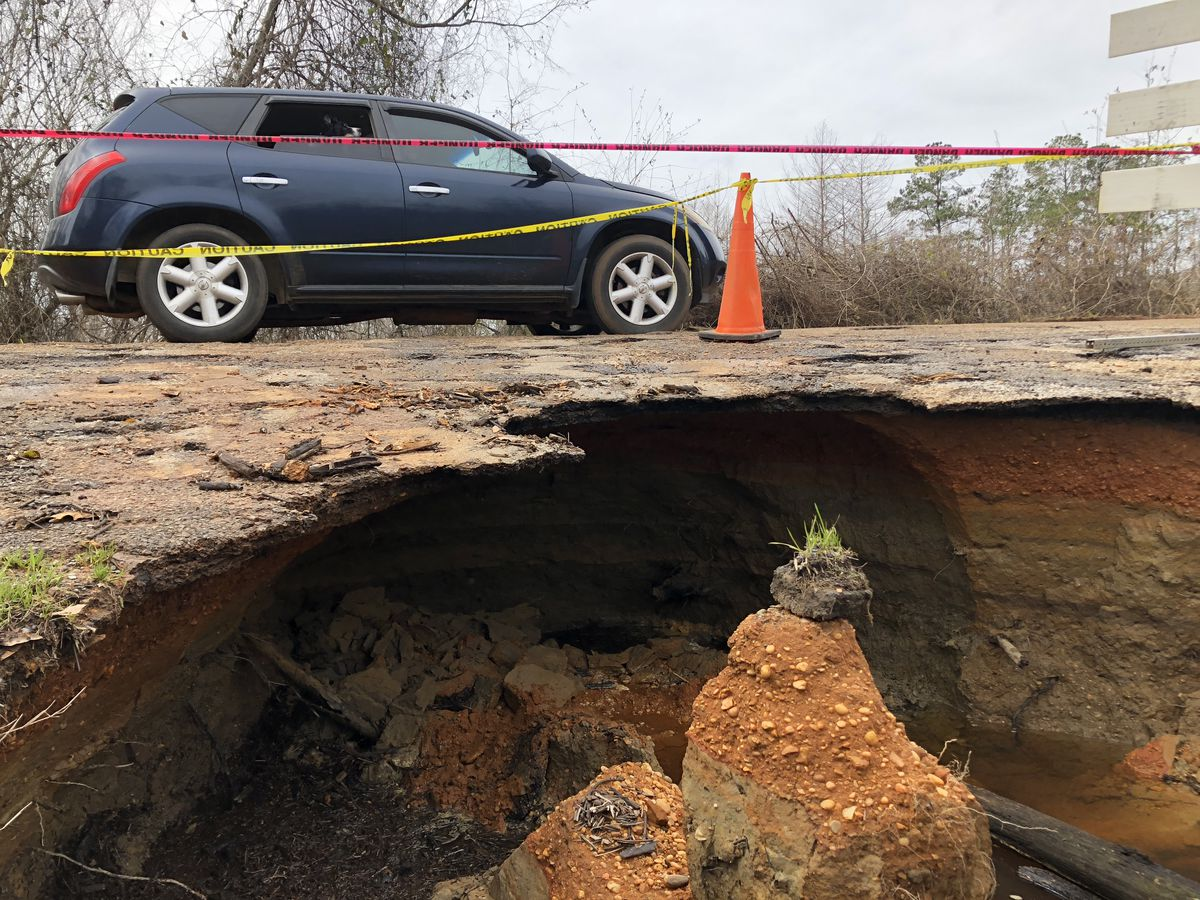 Flooding washes part of Hale County Road 36