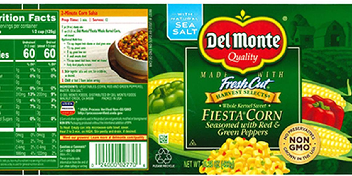 Del Monte canned corn recalled