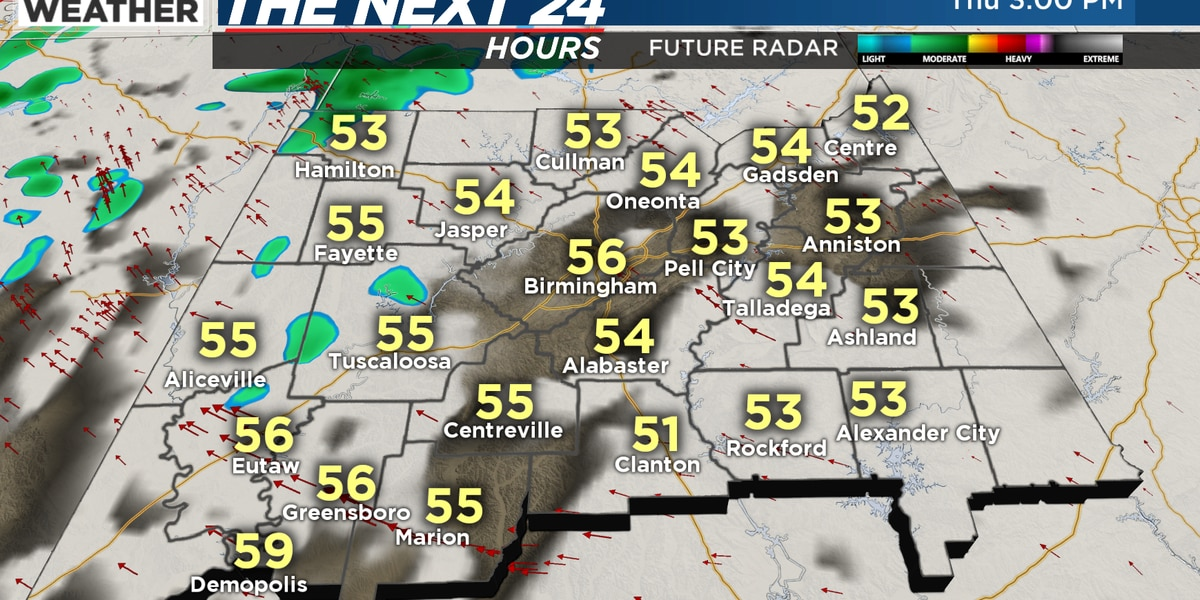 FIRST ALERT: A few showers in west Alabama Thursday, but greatest chance Friday area wide