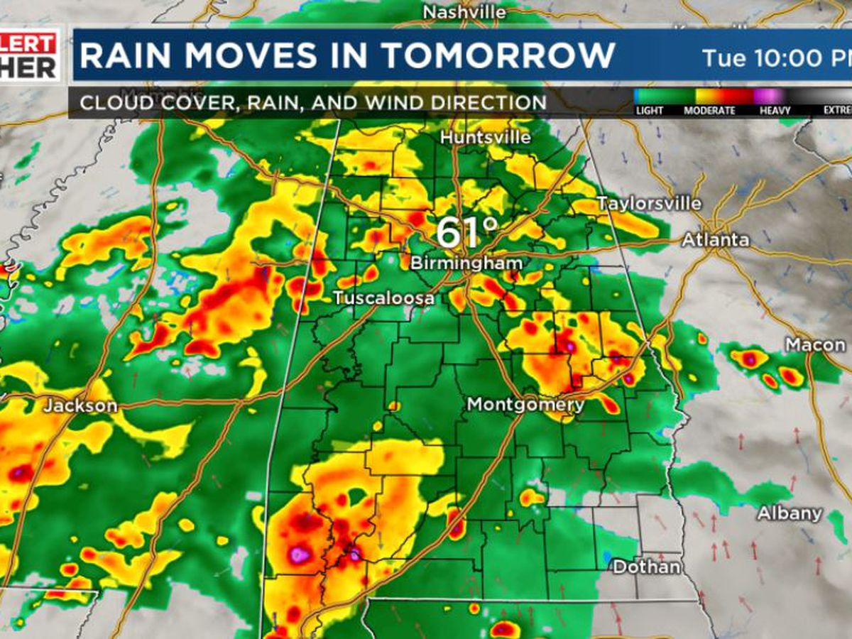 FIRST ALERT: Periods of rain through Wednesday, scattered storms possible
