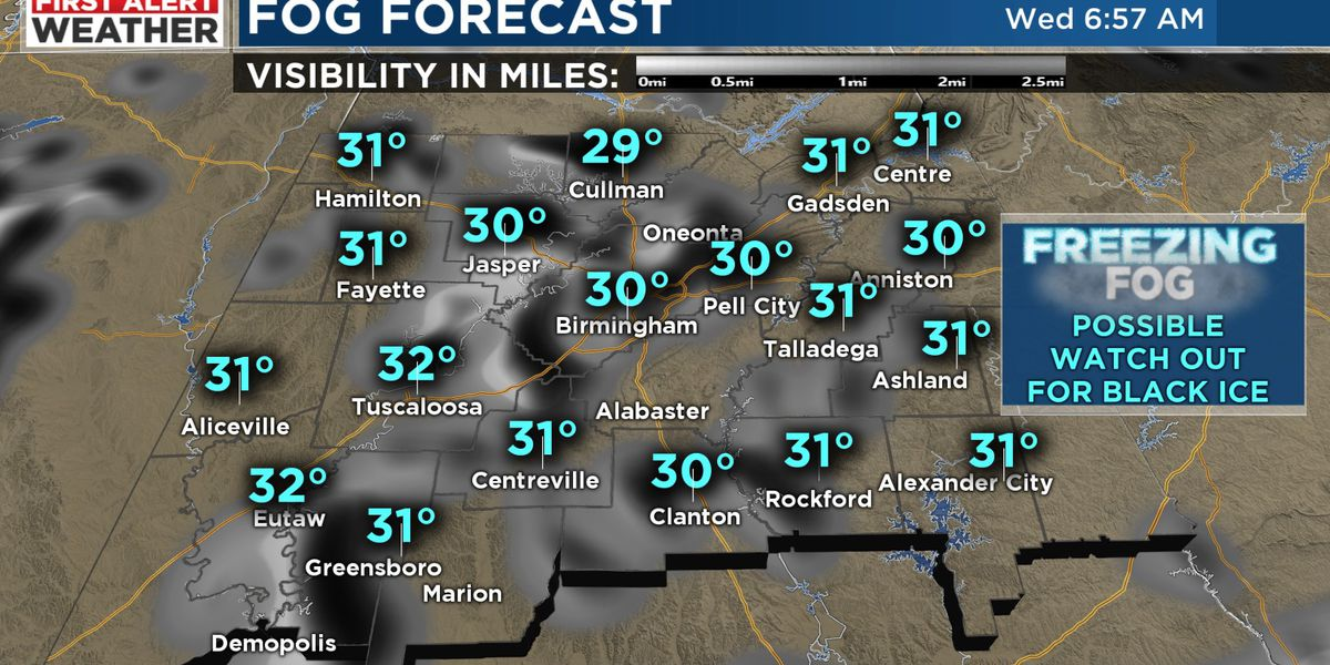 FIRST ALERT for potential black ice Wednesday morning from freezing fog