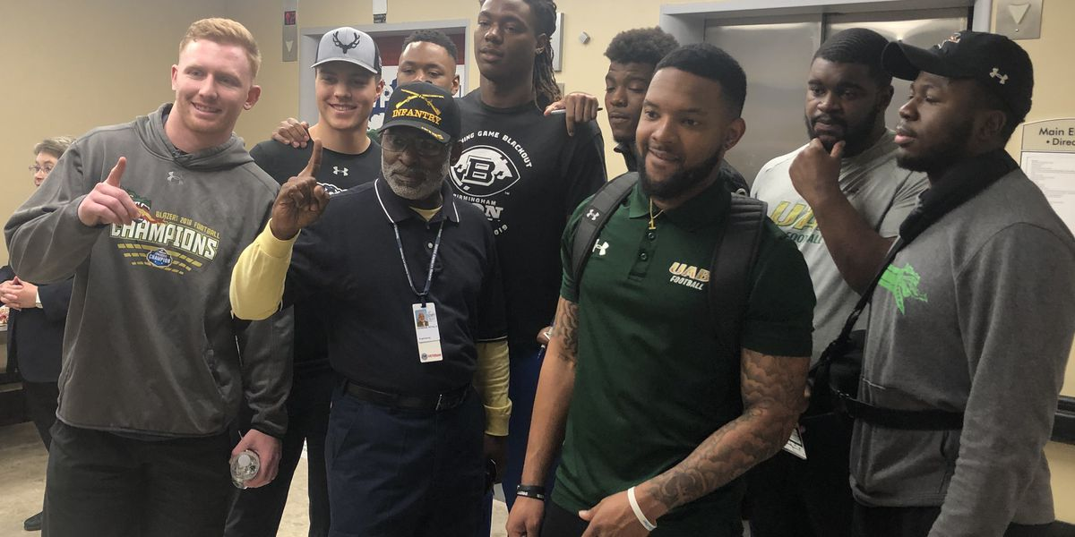 UAB Blazers football team honor veterans during National Salute to Veteran Patients week