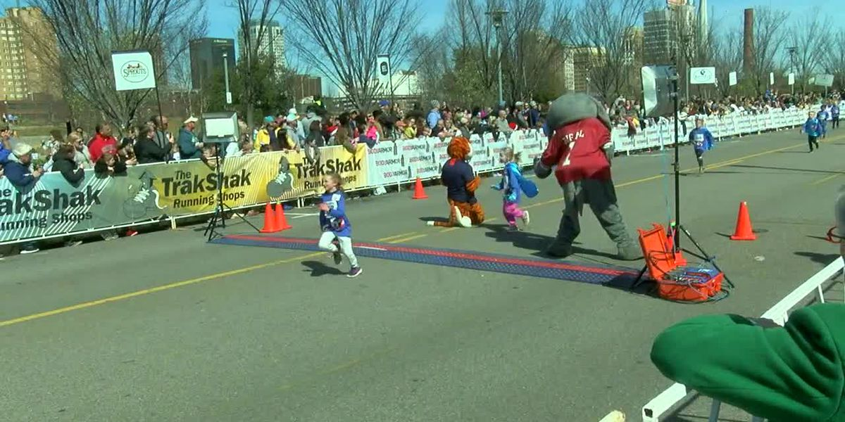 K-5 students finish the last mile of the Kids Mercedes-Benz Marathon