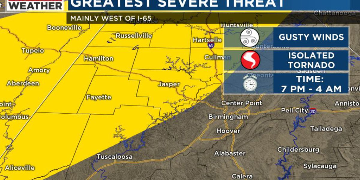 FIRST ALERT: Possibility of a few strong to severe storms tonight, especially for areas along and west of I-65