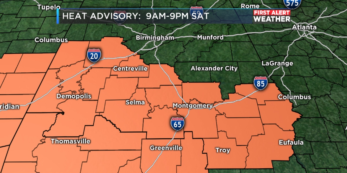 FIRST ALERT: Heat Advisory for Saturday starting at 9 a.m.; Isolated storms possible in the afternoon