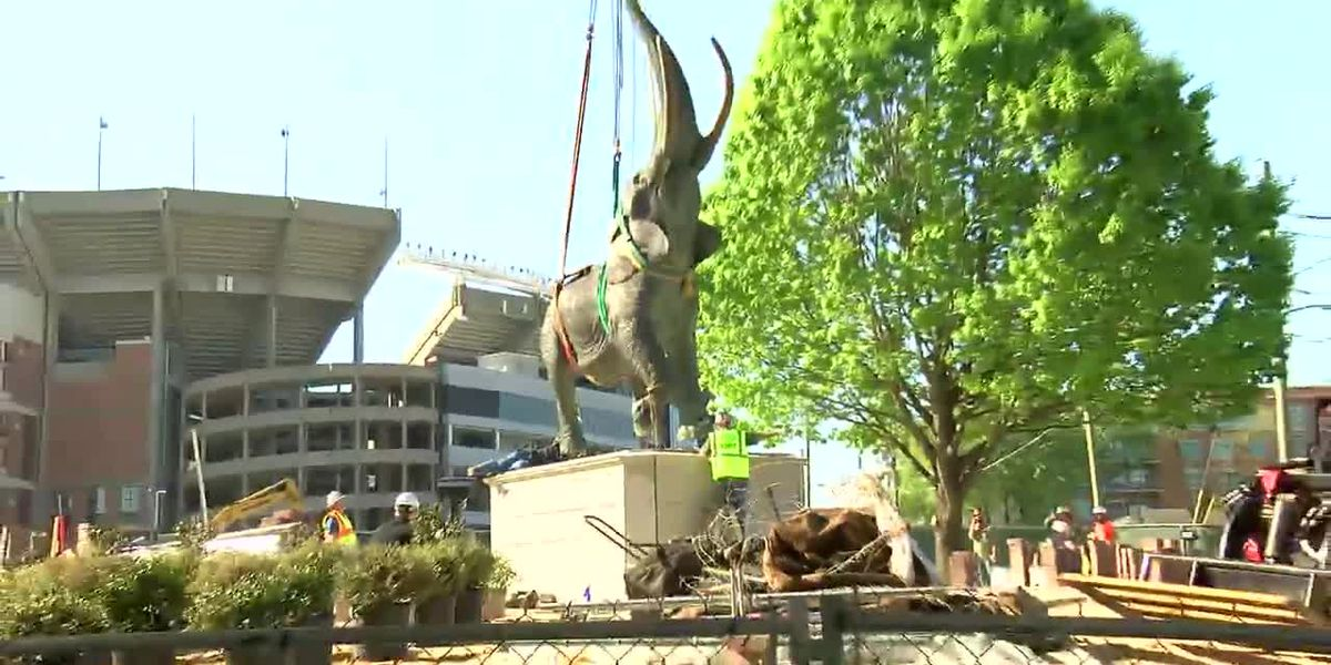 It's not real, but it's close. 7-ton elephant statue is new addition at Bryant-Denny Stadium
