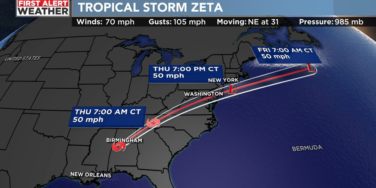 FIRST ALERT WEATHER DAY: Tropical Storm Zeta moving through central Alabama, producing strong winds