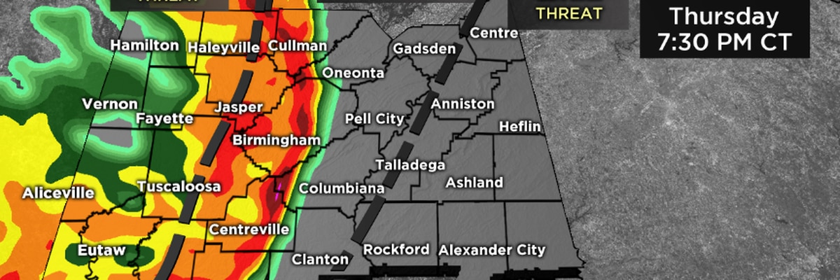 Potential for damaging winds Thursday evening