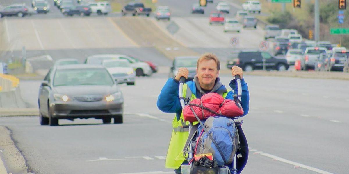 British man stops in Birmingham on his walk around the world for charities