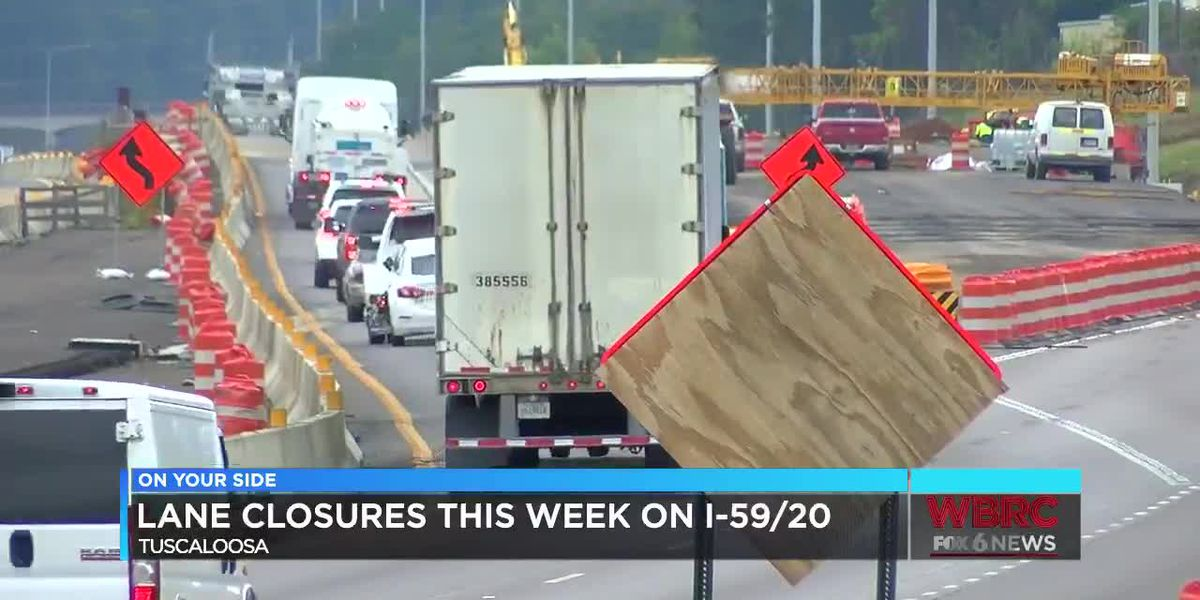 Lane closures on I-59/20 in Tuscaloosa
