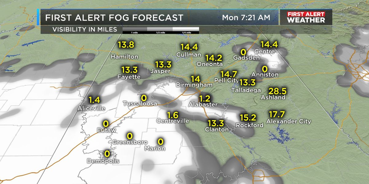 FIRST ALERT: Areas of dense fog Monday morning