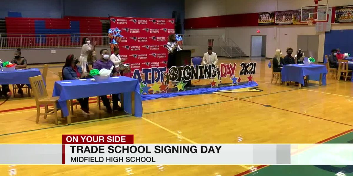 Signing day for Midfield High School students going to trade school