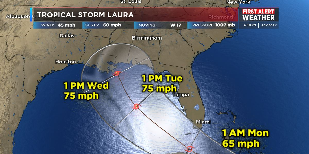 FIRST ALERT: More storms Saturday PM and Laura's track shifts west