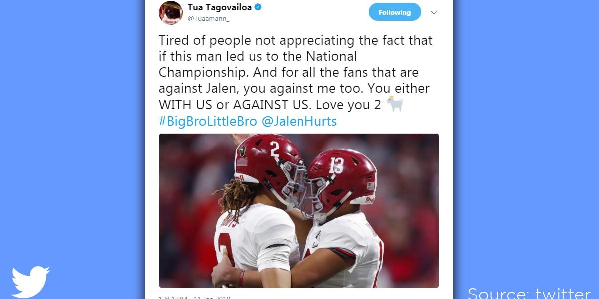 Tua Tagovailoa tweets support for Jalen Hurts