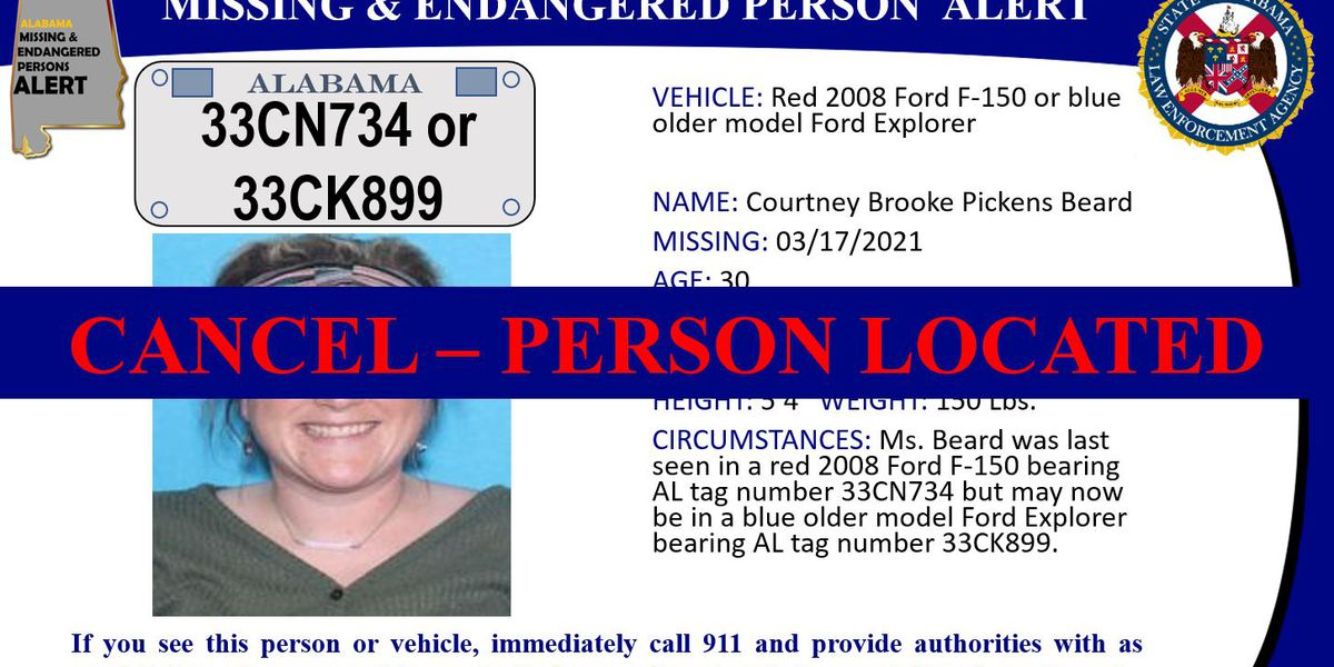 UPDATE: Missing Person Alert canceled for 30-year-old woman in Hackleburg