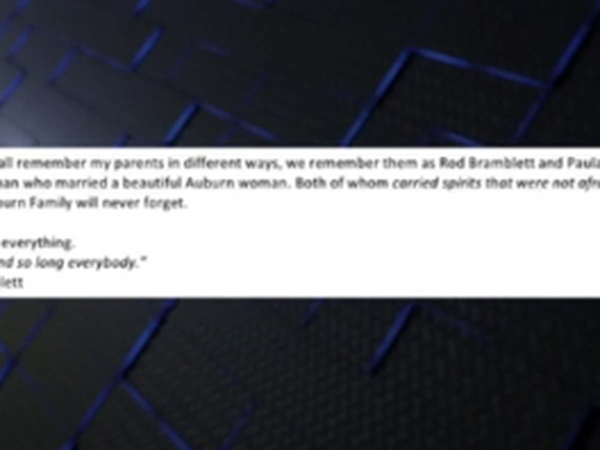 Daughter of Rod and Paula Bramblett remembers parents in letter to AU family