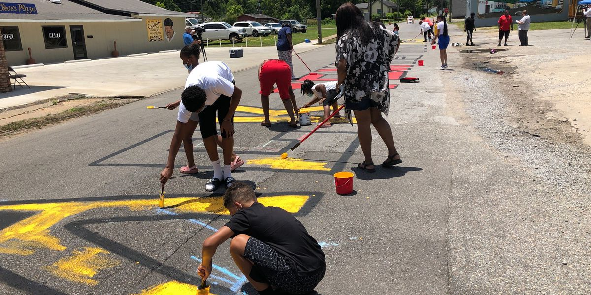 Hobson City residents paint 'Black Towns Matter' on city's main street