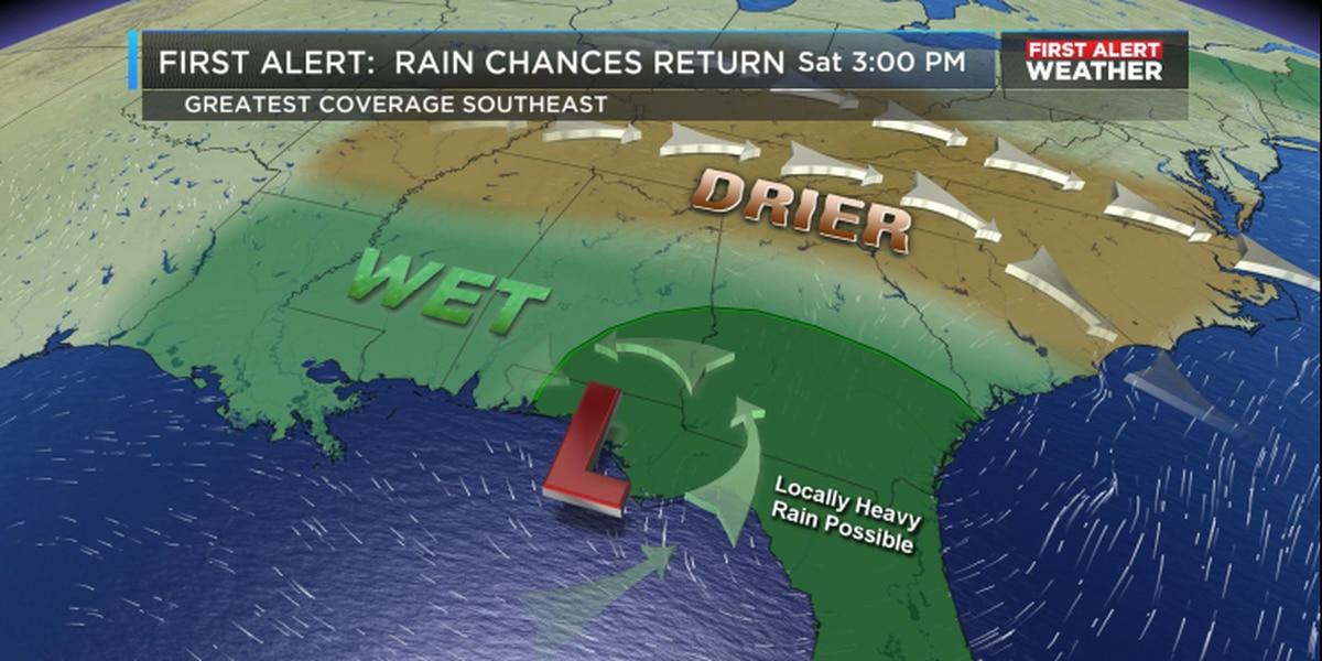 FIRST ALERT: Expect a few weekend thunderstorms