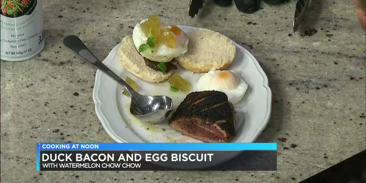 Preservery Birmingham: Duck bacon & egg biscuit with watermelon chow chow