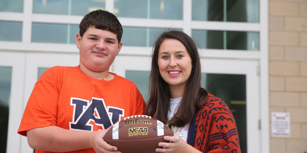 Hartselle teacher helps student with cerebral palsy receive autographed football from Bo Nix