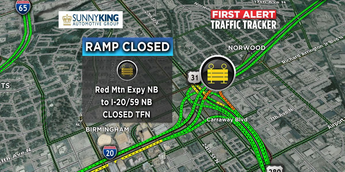 Red Mountain Expressway northbound ramp to I-59N/I-20E temporarily closed
