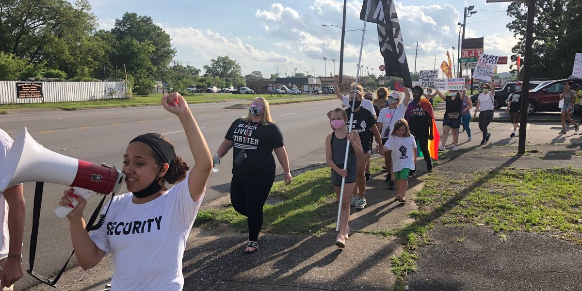 Protesters in Gadsden march against police brutality