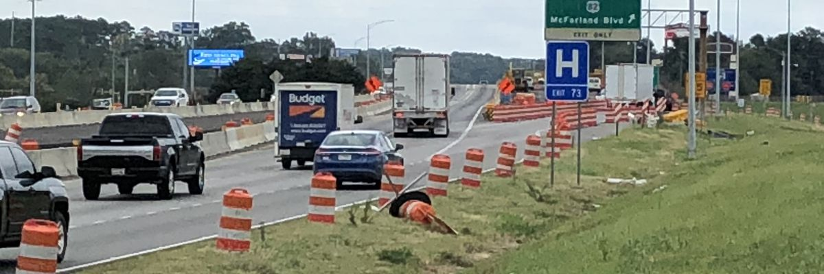 Interstate project in Tuscaloosa to close one lane later this week