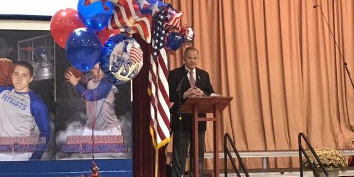 Roy Moore speaks to Tuscaloosa students at Veterans Day program